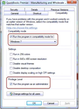 Run QuickBooks in the compatibility mode - Screenshot