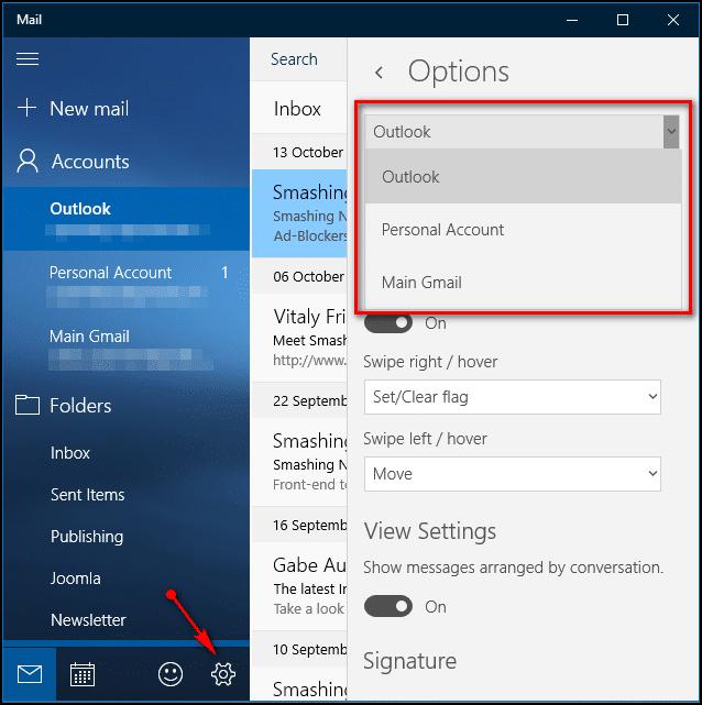 Toggle mail settings - Screenshot