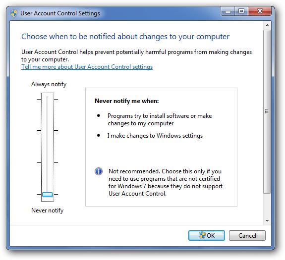 Turn Off UAC in Windows - Screenshot