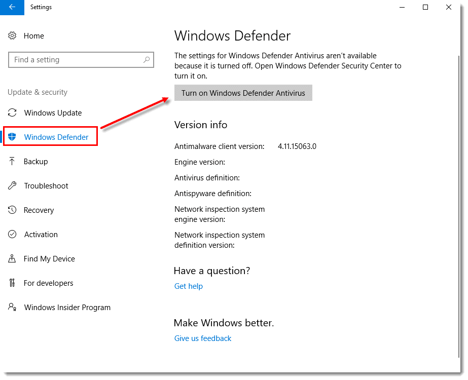 Turn Off Windows Defender - Screenshot