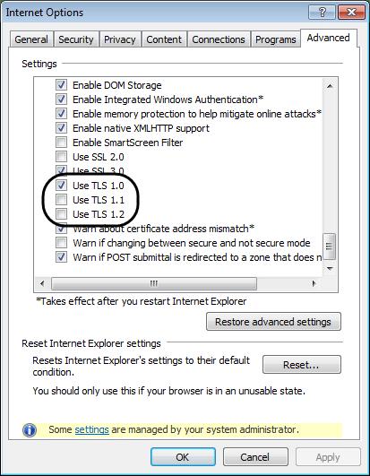 Verify TLS 1.0 Settings - Screenshot