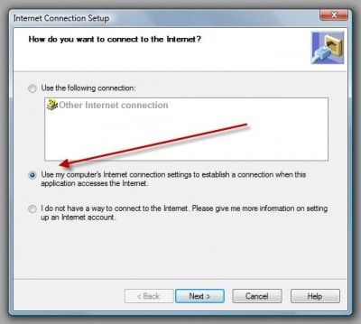 Verify the Internet Connection - Screenshot Image