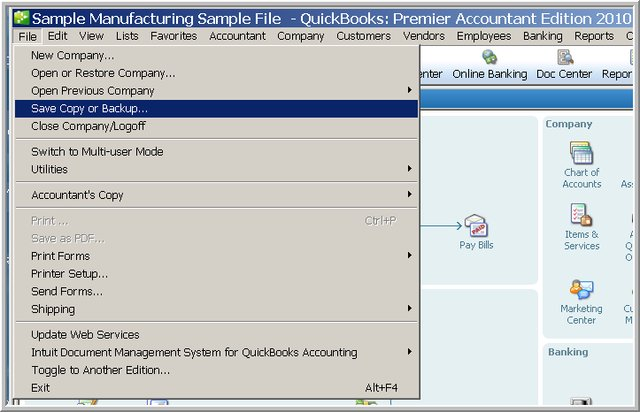 company file to different location -Screenshot Image