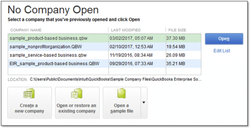 No company open window - Screenshot