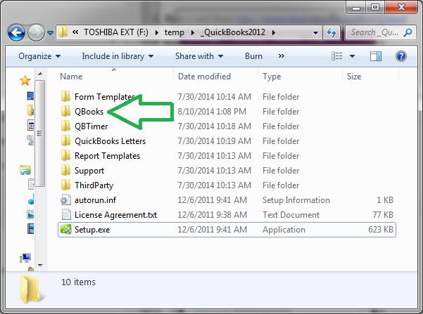 open the QuickBooks folder - Screenshot