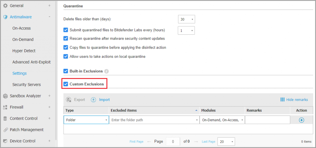 Add QuickBooks to Bitdefender exclusion list - Screenshot
