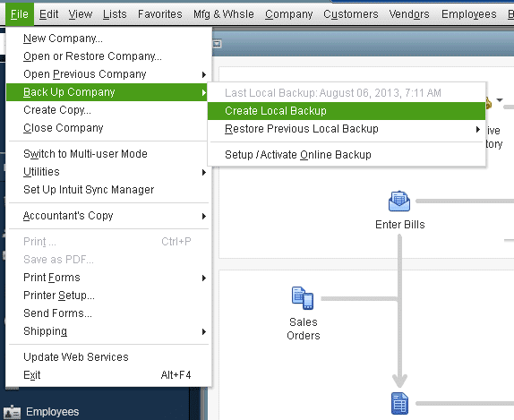 Backup Company option -Screenshot