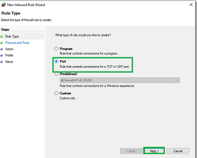 Choose Port Option (QuickBooks Database Server Manager) - Screenshot 1