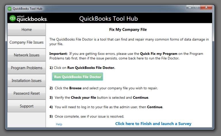Company file issues - QB tool hub - Screenshot