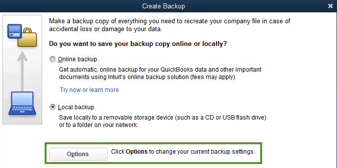 Create a Local Backup in QuickBooks - Screenshot