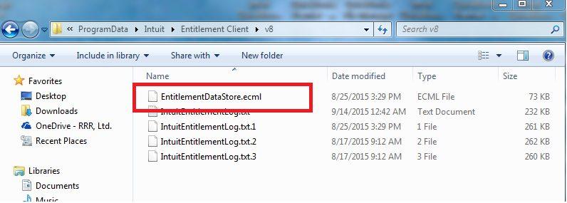 Delete the 'EntitlementDataStore.ecml'-file - Screenshot Image