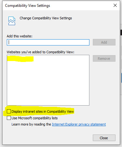 Display intrasites in compatibility view - Screenshot Image