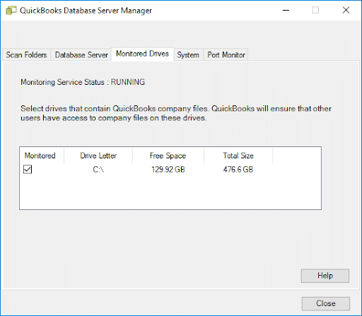 Monitor drive in QuickBooks Desktop Database Server Manager - Screenshot