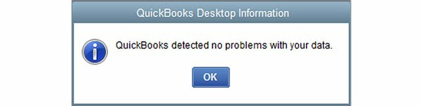 No problem detected in QuickBooks company file - Screenshot Image
