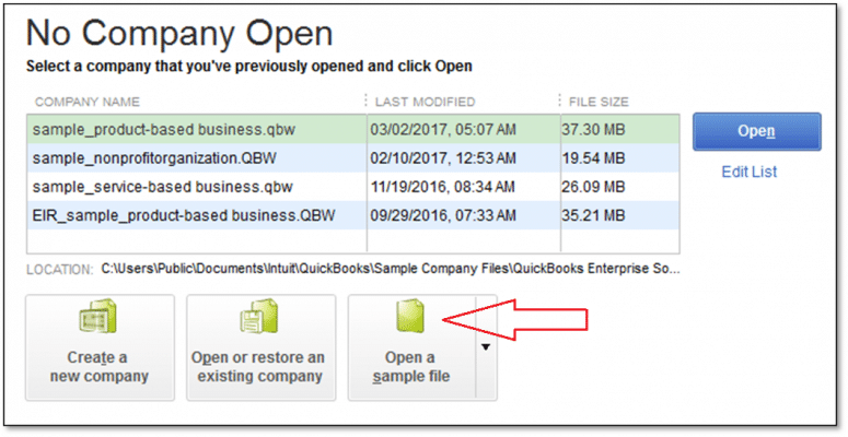 Open a Sample Company File - Screenshot