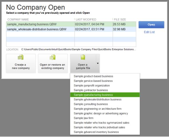 Open up a sample company file - Screenshot