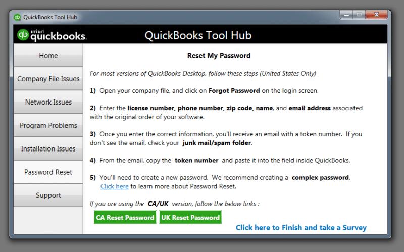 Password reset - QB Tool Hub - Screenshot