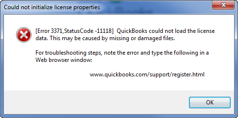 QuickBooks Error Code 3371 - Could not initialize licence properties - Screenshot