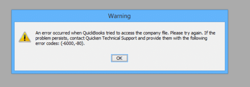 QuickBooks Error Code -6000, -80 - Screenshot