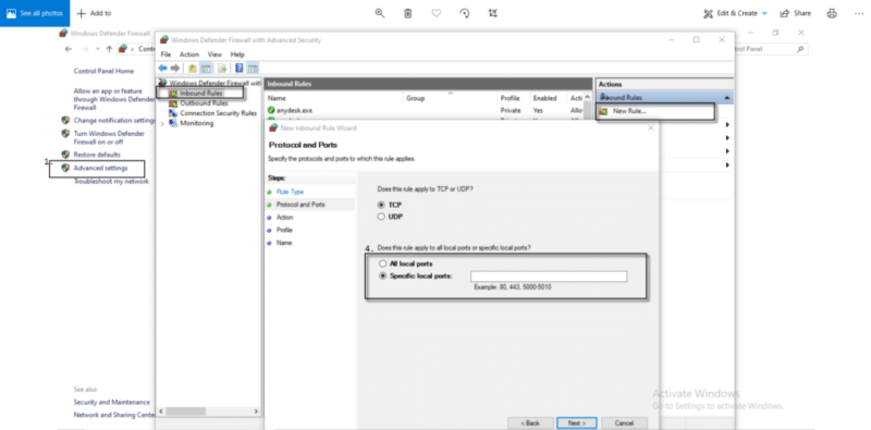 QuickBooks Firewall Port (Create a New Rule) - Screenshot