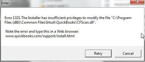 QuickBooks Installer Error Code 1321 - Screenshot
