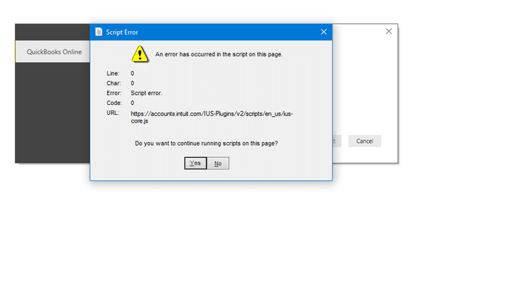 QuickBooks Script Error - Screenshot