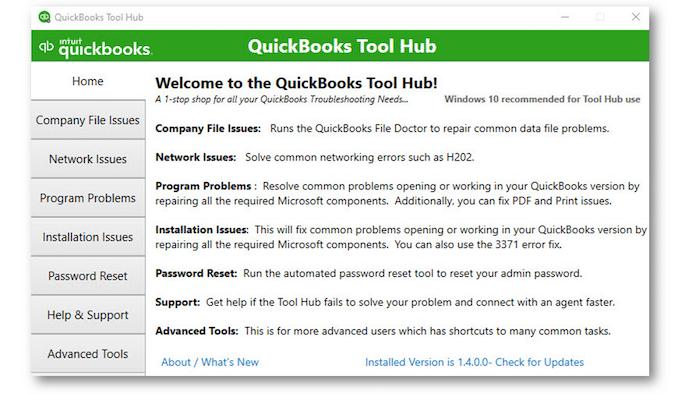 QuickBooks Tool Hub Program - Screenshot
