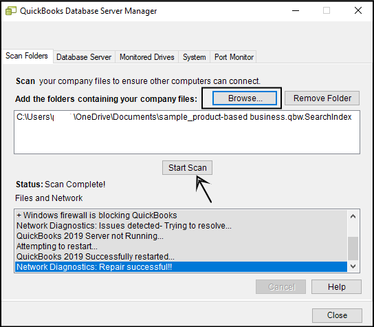 QuickBooks database server manager (Start Scan) - Screenshot