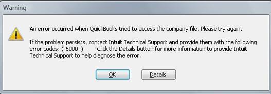 QuickBooks error 6000- screenshot