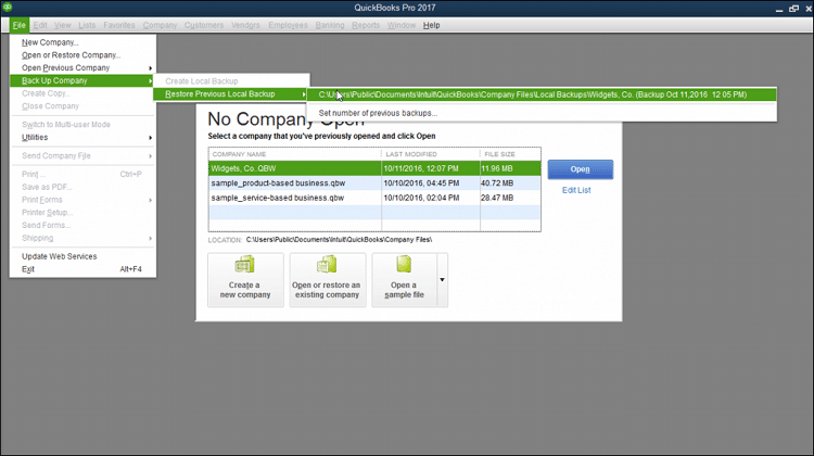 Restoring the previous backup in QuickBooks - Screenshot
