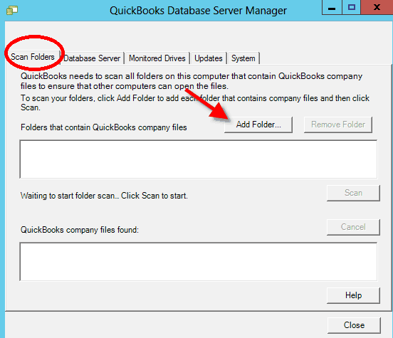 Scan and Add Folder option in QuickBooks Database Server Manager - Screenshot