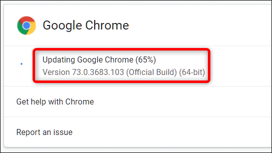 Update Google Chrome Browser - Screenshot