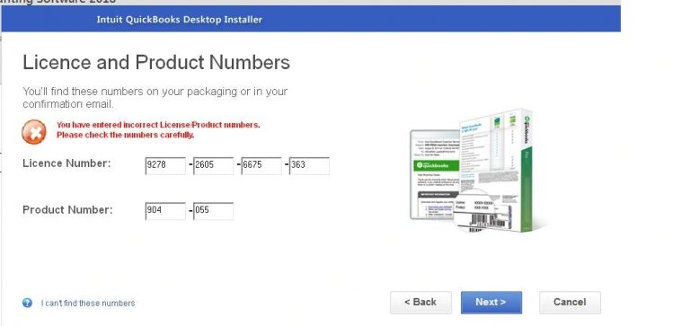 license number and product code- screenshot