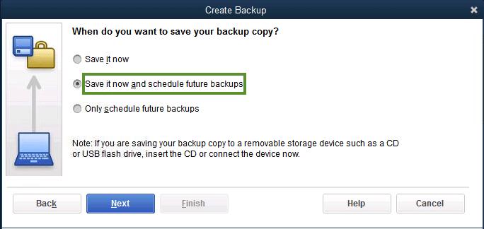 schedule backup- screenshot
