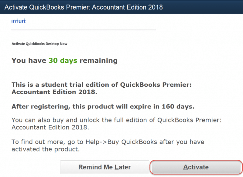 Activate the QuickBooks software (Trial Version) - Screenshot