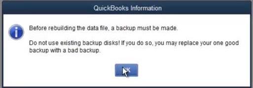Backing up the company file - Screenshot