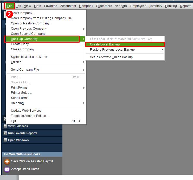 Backup company file manually - Screenshot