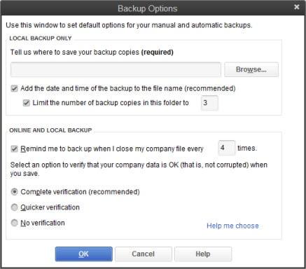 location for saving the backup - Screenshot