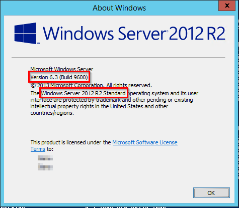 Check the Windows Server version - Screenshot