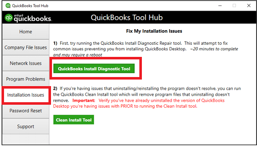 Choose QuickBooks Install Diagnostic tool - Screenshot