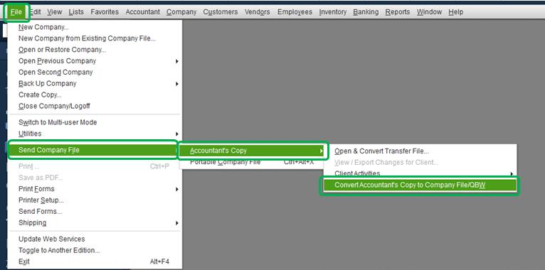Convert accountant's copy to company file/QBW - Screenshot