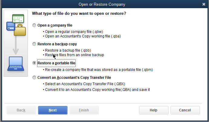 Create a portable company file (.qbm) to restore your company file - Screenshot
