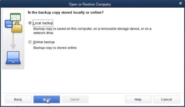 Local backup to restore the company file - Screenshot