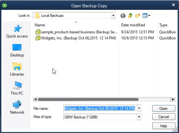 Open backup copy dialog box - Screenshot