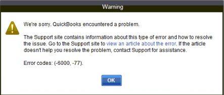 QuickBooks Error Code (-6000, -77) - Screenshot