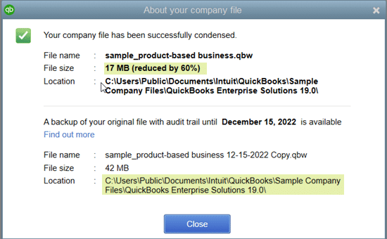 QuickBooks condense repair- screenshot