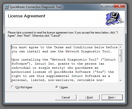 QuickBooks connection diagnostic tool (License Agreement) - Screenshot
