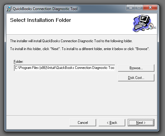 QuickBooks connection diagnostic tool (Setup Installation Folder) - Screenshot