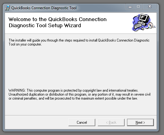 QuickBooks connection diagnostic tool setup wizard - Screenshot