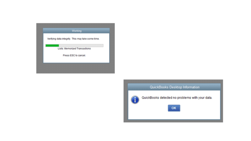QuickBooks detected no problems with the data - Screenshot